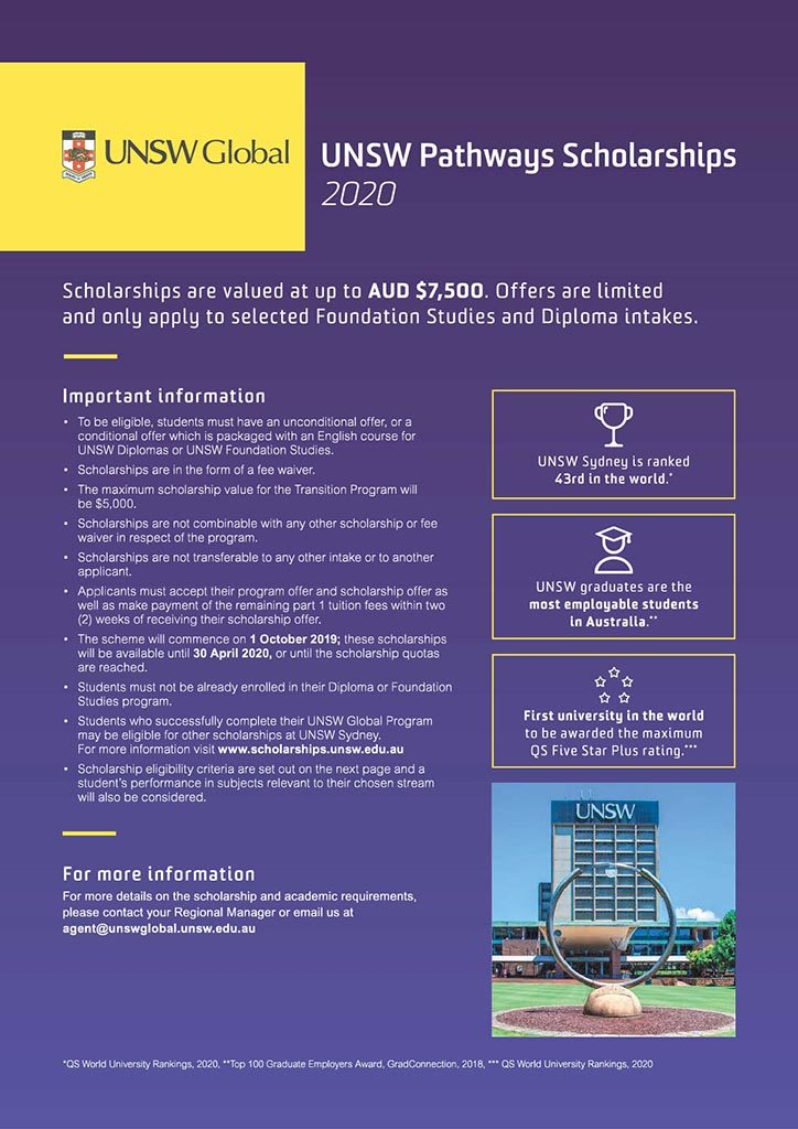 UNSW Global 2020 Scholarships
